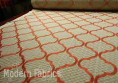 Fabricut Magnetic Ogee: Cinnamon | Embroidered Cotton Drapery Fabric